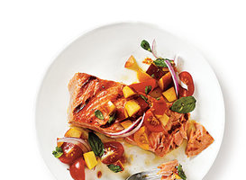 Grilled King Salmon with Tomato-Peach Salsa Recipe