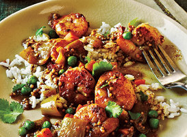 Bombay Shrimp Curry with Coconut Rice Recipe