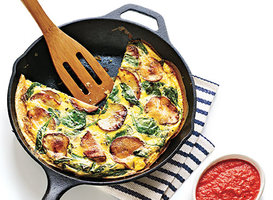 Spanish Potato and Spinach Tortilla with Red Pepper Sauce