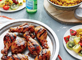 Teriyaki Chicken Drumsticks with Tropical Fruit Salad