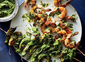 Shishito and Shrimp Skewers with Chimichurri