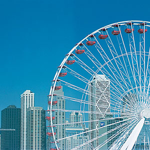 The 15-story Ferris Wheel at Navy Pier offers a great view of the Windy City.