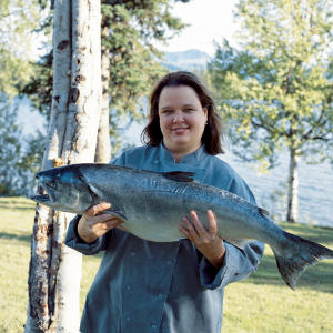 Lady holding salmon