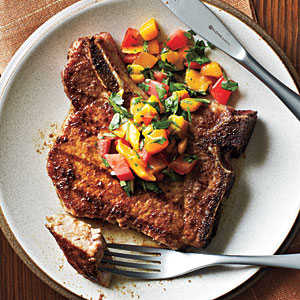 Pork Chops with Caribbean Rub and Mango Salsa Recipe
