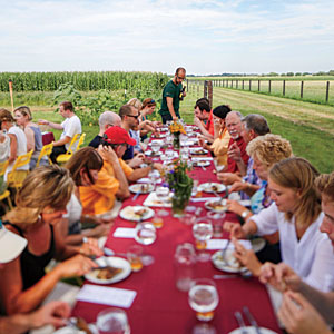 Dinner prepared by Cleetus Friedman at La Pryor Farms in Ottawa, Illinois