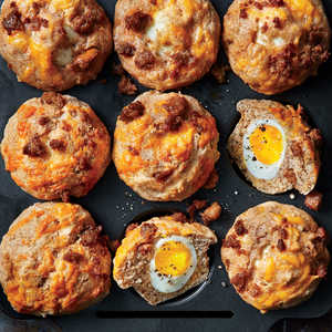 Soft-Yolk Muffins with Sausage and Cheese
