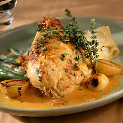 Chicken in Mustard with Beans, Garlic, and Mascarpone