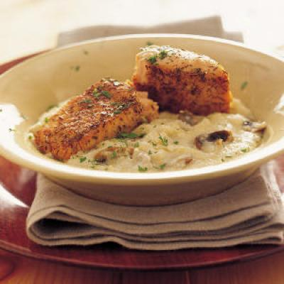 Flavorful salmon fillets are delicious over creamy Parmesan grits ...