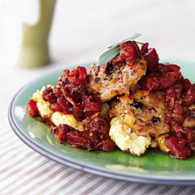 Recipe for Two: Chicken with Prosciutto and Tomatoes Over Polenta