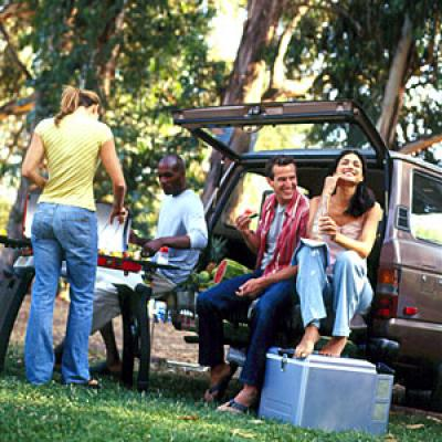 Tailgating people on the back of a car