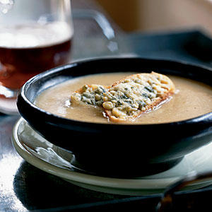 Healthy Roasted Garlic and Shallot Potato Soup with Cheesy Croutons