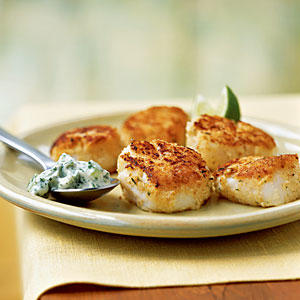 Pan-Seared Scallops with Cilantro-Celery Mayonnaise