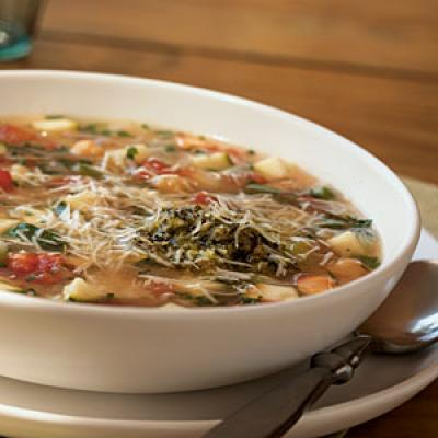 Healthy Pasta-and-Chickpea Soup with Pesto Recipe