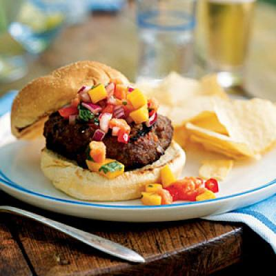 Jamaican Jerk Turkey Burgers with Papaya-Mango Salsa Recipe