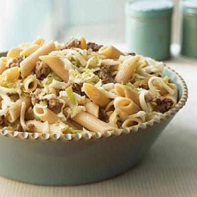 Whole-Wheat Pasta with Sausage, Leeks, and Fontina Whole-Grain Recipe