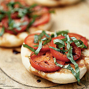 Grilled Flatbreads with Tomatoes and Basil