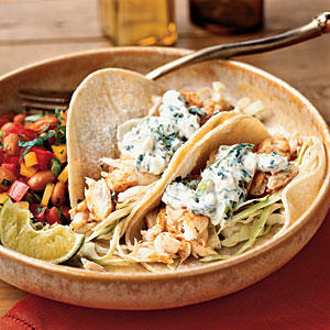 Fish Tacos with Lime-Cilantro Crema - Quick and Easy Mexican Recipes ...