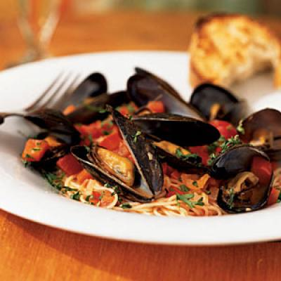 Angel Hair Pasta with Mussels and Red Pepper Sauce - Recipes with Wine ...