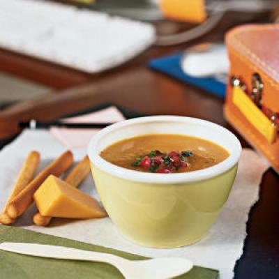 Healthy Carrot and Sweet Potato Soup with Cranberry Relish Recipe