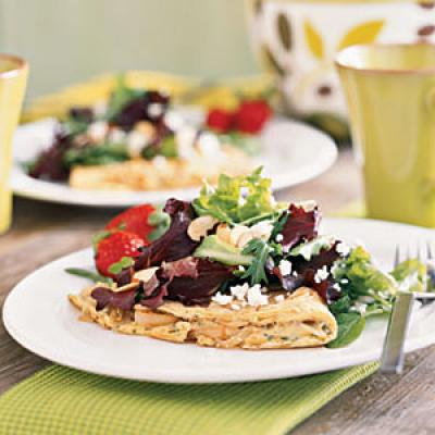 Onion and Fresh Herb Omelet with Mixed Greens