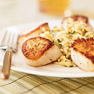 Seared Scallops with Lemon Orzo