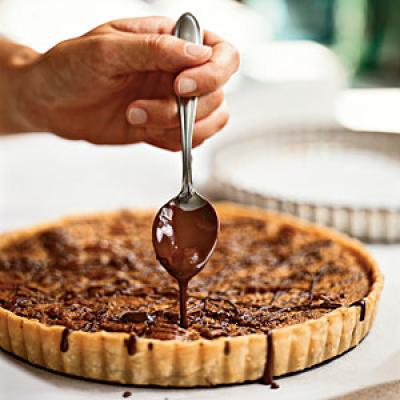 Bourbon-Pecan Tart with Chocolate Drizzle - Healthy Holiday Dessert ...