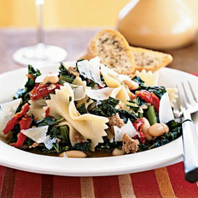 Farfalle with Sausage, Cannellini Beans, and Kale Recipe