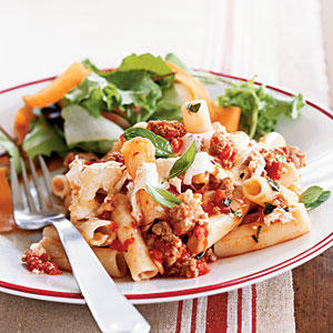 100 Pasta Recipes: Baked Pasta with Sausage, Tomatoes, and Cheese