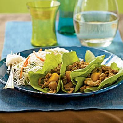 Winter's Best: Chinese Chicken and Persimmon Lettuce Wraps