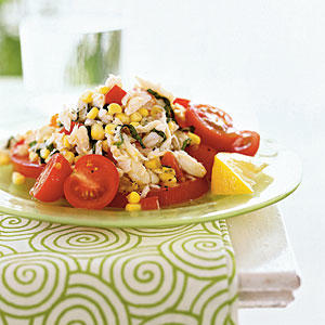 Crab, Corn, and Tomato Salad with Lemon-Basil Dressing - Quick and ...
