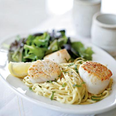 Seared Scallops with Fresh Linguine and Romano Cheese