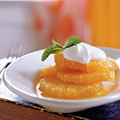 Oranges with Caramel and Cardamom Syrup