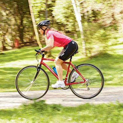 If you're riding a hybrid or mountain bike, take it to a level, open, grassy field for a few test rides.