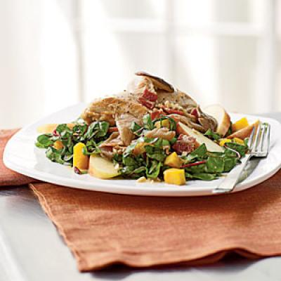 Pan-Roasted Chicken, Squash, and Chard Salad with Bacon Vinaigrette Recipes