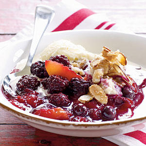 Healthy Berry-Peach Cobbler with Sugared Almonds  Recipes