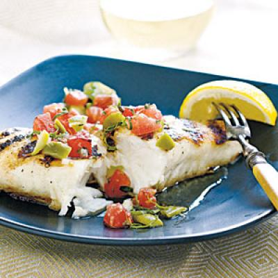 Halibut with Grilled Tomato and Olive Relish Recipe