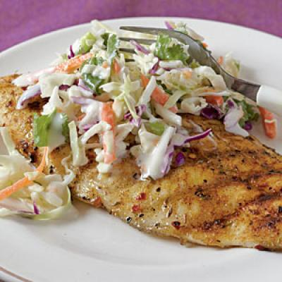 Jerk-Rubbed Catfish with Spicy Cilantro Slaw Recipes