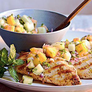 Healthy Grilled Chicken with Cucumber-Melon Salsa Recipes