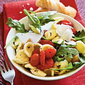 Orecchiette with Roasted Peppers, Arugula, and Tomatoes Recipe