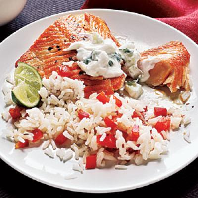 Healthy Dinner Recipes: Arctic Char with Cilantro-Yogurt Sauce