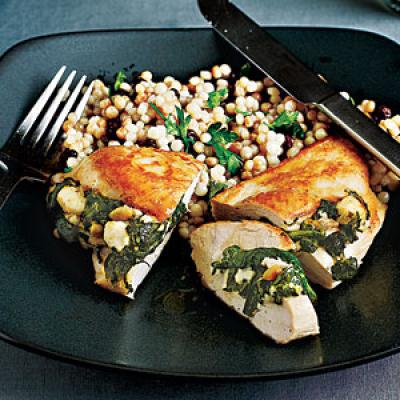 Healthy Dinner Recipes: Chicken Stuffed with Spinach, Feta, and Pinenuts