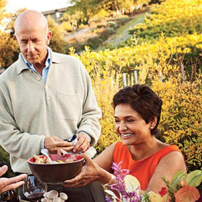 Diners at Lynmar Estate enjoy a harvest meal of local Sonoma Valley food created by Chef Sandra Simile for Cooking Light magazine.