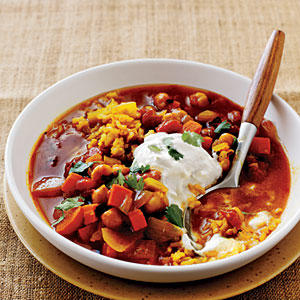Make-Ahead Dinners: Curried Chickpea Stew with Brown Rice Pilaf