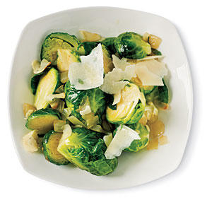 Sautéed Brussels Sprouts with Garlic and Pecorino