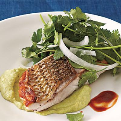 Best Striped Bass with Cilantro-Onion Salad Recipe