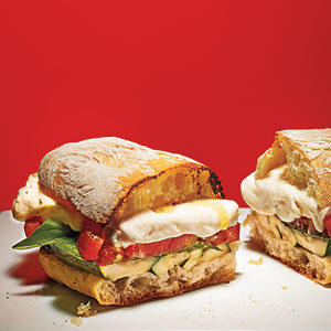 ... sandwich. We've added grilled zucchini to up the game. Gooey