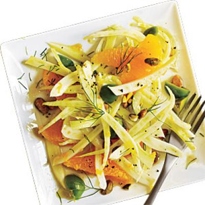 Shaved Fennel Salad with Orange, Green Olives, and Pistachios