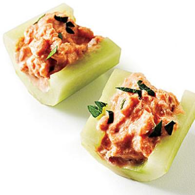 salmon rangoon cucumber rounds with smoked cucumber rounds with smoked ...