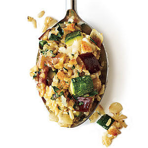 Cheesy Brown Rice Gratin with Zucchini and Eggplant