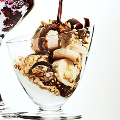 Coffee-Drenched Ice Cream with Banana and Nuts Recipe